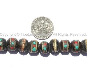 20 BEADS 9mm-10mm Black Bone Inlaid Tibetan Beads with Turquoise & Coral Inlays - LPB10-20