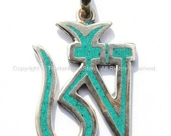 Tibetan Om Silver Plated Pendant with Turquoise Inlays - OM Aum Ohm - Ethnic Nepal Tibetan Handmade Yoga Meditation Jewelry - WM3583