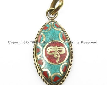 Nepal Tibetan Buddha Wisdom Eyes Pendant with Brass, Turquoise, Coral Inlay Nepal Pendant Tibetan Pendant Tibet Pendant - WM5919