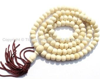 108 BEADS 8mm Tibetan White Bone Mala Prayer Beads 8mm Size - Nepalese Beads Tibetan Beads Mala Beads - Mala Making Supplies - PB107