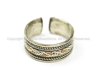 Adjustable Ring Tibetan Ring Nepalese Mixed Metals Ring Unisex Ring- Boho Ring Nepal Tibet Ring Brass & Copper Ring TibetanBeadStore- R235