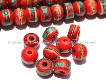 10 BEADS - 9mm-10mm Red Bone Inlaid Tibetan Beads with Turquoise & Coral Inlays - Red Bone Inlaid Beads - Tibetan Bone Beads -  LPB13-10
