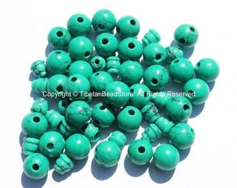10 SETS Turquoise Tibetan Guru Bead Sets - 9mm-10mm size Howlite Turquoise 3 Hole Guru Beads - Tibetan Prayer Mala Making Supply- GB36-10