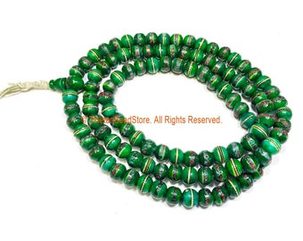 9-10mm Green Color Bone Tibetan Mala Prayer Beads with Turquoise, Coral & Metal Inlays- Ethnic Green Bone Mala Beads - PB148G