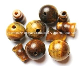 2 SETS - Tigers Eye Guru Bead Set - Tibetan Guru Beads- 3 Hole Guru Beads- Mala Making Supplies- Tibetan Tigers Eye Guru Beads- GB21-2