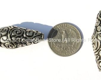 1 BEAD - Tibetan Thick Bicone Floral Repousse Silver-plated Metal Bead - Ethnic Artisan Handmade Metal Beads - Tibetan Beads - B1856-1