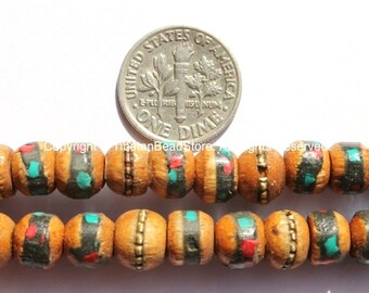 20 beads - 8mm Size Tibetan Wood Beads - Wooden Beads with Turquoise, Coral, Brass & Copper Inlays - LPB15S-20