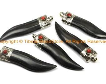 2 PENDANTS Boho Ethnic Tribal Tibetan Horn Pendants Tusk Tooth Chilli Pepper Horn Pendants with Repousse Tibetan Silver Caps- WM6101-2