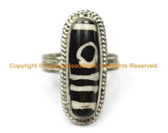 Ethnic Tibetan Dzi Ring (SIZE 9.25) Tibetan Resin Dzi Amulet Ring- Dzi Zee Unisex Ring- TibetanBeadStore Tibetan Beads & Jewelry - R250-9.25