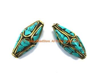 2 BEADS Tibetan Bicone Beads with Brass & Turquoise Inlays by TibetanBeadStore - Turquoise Beads Brass Inlay Beads Nepal Beads  B3320-2