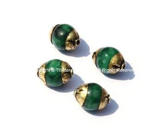 4 BEADS - Small Green JadeTibetan Beads with Repousse Brass Caps - Handmade Tibetan Beads, Pendants, Jewelry - TibetanBeadStore - B2488-4