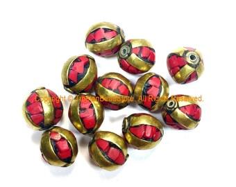 Tibetan Beads - 10  BEADS Coral and Brass Inlaid Beads - Handmade Beads - Gemstone Inlaid Beads from Nepal - B3235C-10