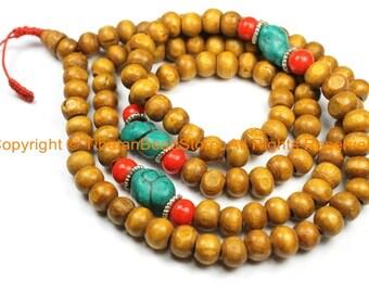 108 beads Tibetan Natural Stained Wood Mala Prayer Beads with Spacers- 8mm Tibetan Mala Beads- TibetanBeadStore Mala Making Supplies- PB131
