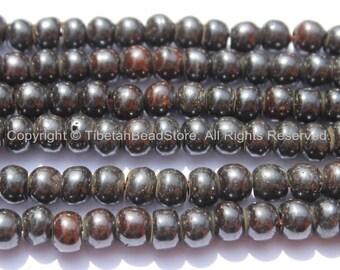 10 BEADS - 8mm Tibetan Black Bone Beads - Tibetan Beads - Mala Making Supplies - LPB79-10
