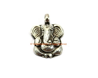 92.5 Sterling Silver Small Ganesh Charm Pendant- Nepalese Tibetan Charms Pendants - Ganesh Charm Design © TibetanBeadStore® - SS8008
