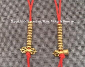 Tibetan Gold-tone Brass Bell & Vajra Mala Prayer Beads Counter Set - Good Quality Large Brass Mala Counters - Buddhist Mala Counters - T251