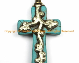Tibetan Reversible Turquoise Cross Pendant with Tibetan Silver Metal Bail & Carved Floral Details - Ethnic Tibetan Turquoise Cross- WM6140