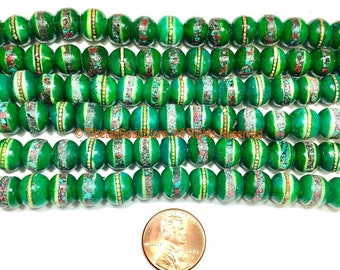 20 BEADS 9-10mm Tibetan Green Color Bone Beads with Turquoise, Coral & Metal Inlays- Ethnic Green Bone Inlaid Beads- LPB148G-20