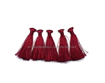 5 TASSELS Plum Silk Tassels - Handmade Boho Tassels Bag Tassels Earring Tassels - Craft Tassels - T226-5