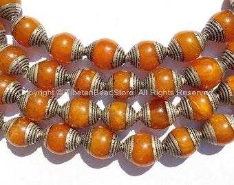4 BEADS - Tibetan Amber Color Resin Beads with Tibetan Silver Metal Caps - Ethnic Tribal Tibetan Beads - B2135S-4