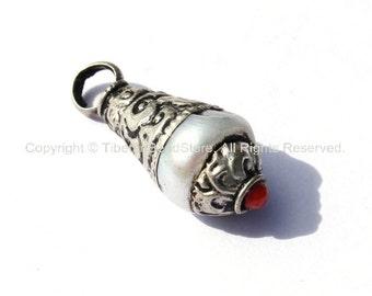 Tibetan Pearl Charm Pendant with Repousse Tibetan Silver Caps & Coral Accent - TibetanBeadStore Tibetan Beads, Charms, Pendants -WM1873-1