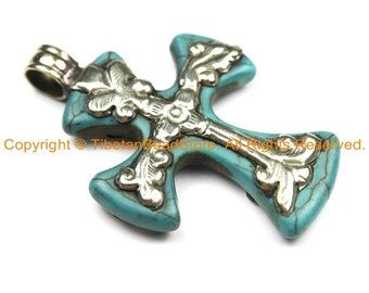 2 PENDANTS Tibetan Reversible Turquoise Cross Pendants with Tibetan Bail & Carved Floral Details - Ethnic Nepal Tibetan Cross- WM6309-2