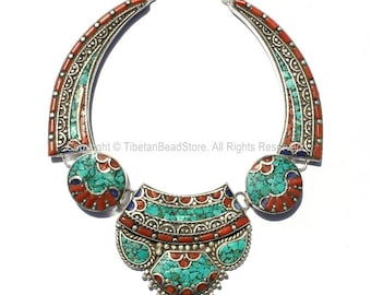 Ethnic Tibetan Necklace Bead Set with Lapis, Turquoise & Coral Inlays - DIY Necklace - DIY Fine Quality Tibetan Jewelry - N168