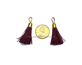 2 TASSELS Rich Burgundy Silk Tassels with Gold Toned Brass Caps - Quality Tassels Boho Tassels Earring Tassels - Craft Tassels - T214-2