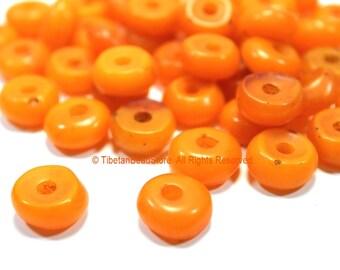 Tibetan Beads - 10 beads Tibetan Small Amber Copal Resin Beads - Ethnic Tibetan Honey Amber Resin Beads - Tibetan Bead Store - B3250-10