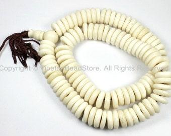 108 BEADS 14mm Size Flat Disc Tibetan White Bone Mala Prayer Beads - Natural Animal Bone Tibetan Disc Beads - PB80