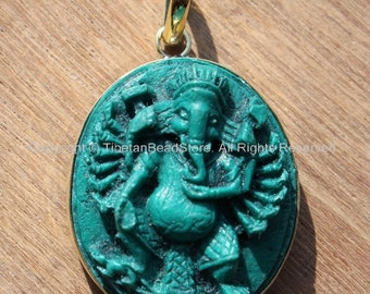 Large 16-Arms Green Ganesha Pendant - Veera Ganesh with 16 Arms - 31mm x 50mm - Ethnic Nepal Tibetan Ganesa Ganesh Ganpati Pendant - WM3688