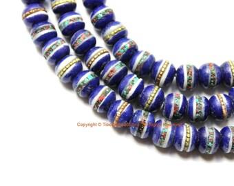 20 BEADS 8mm Tibetan Lapis Blue Color Bone Beads with Turquoise, Coral & Metal Inlays - Tibetan Blue Bone Beads - LPB212-20