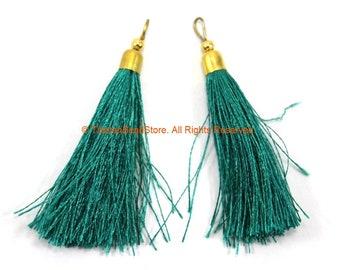 2 TASSELS Green Silk Tassels with Gold Toned Brass Cap - Quality Tassels Bag Tassels Accessories Earring Tassels - Craft Tassels - T203-2