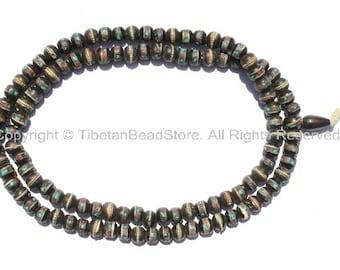 108 beads - Tibetan Prayer Beads - Dark Bone Mala Prayer Beads with Metal Wire, Turquoise & Coral Inlays - PB10S