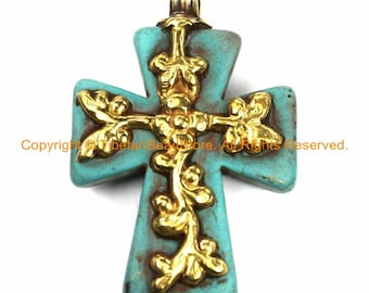 Tibetan Reversible Turquoise Cross Pendant with Repousse Brass Bail, Phoenix Bird & Lotus Floral Details Jewelry by TibetanBeadStore- WM6167