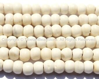 20 beads - Tibetan White Bone Beads - 6mm-7mm - Tibetan Beads - Mala Making Supplies - LPB78-20