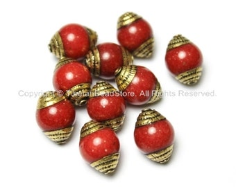 10 BEADS - Tibetan Red Jade Beads with Handmade Repousse Brass Caps - Tibetan Beads - TibetanBeadStore - B1411-10