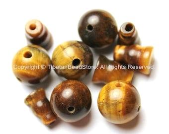 3 SETS Tibetan Tigers Eye Guru Bead Set- 3 Hole Guru Beads Sets- Mala Making Supplies-Buddhist Guru Beads- Tibetan Guru Beads - GB21-3