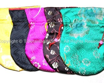 Set of 5 High Quality Tibetan Drawstring Brocade Purses Pouches- Regular Size- TibetanBeadStore Gift Mala Pouches Bags Purses- HP8-5