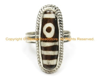 Ethnic Tibetan Dzi Ring (SIZE 9) Tibetan Resin Dzi  Ethnic Ring Tibetan Ring Unisex Ring- TibetanBeadStore Tibetan Beads & Jewelry- R250B-9