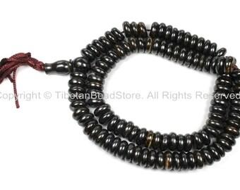 108 BEADS Tibetan Flat Disc Dark Bone Mala Prayer Beads - 10-11mm Dark Color Bone Disc Beads- TibetanBeadStore Mala Supplies- PB128