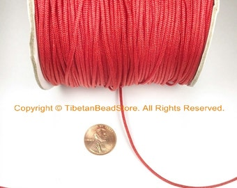 5 YARDS Red Jewelry Cord .8mm Thick - Red Cord String Twine Rope for Malas Prayer Beads, Bracelets, Necklace, Jewelry Supplies - SCR8-5