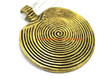 Brass Spiral Tibetan Pendant - Ethnic Tribal Lightweight Brass Tone Disc Pendant - 46mm x 53mm - Tibetan Brass Pendant - WM7322