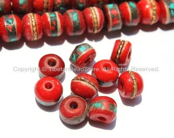 20 BEADS 8mm Red Bone Inlaid Tibetan Beads with Turquoise & Coral Inlays - Ethnic Nepal Tibetan Bone Beads Mala Supplies- LPB13S-20