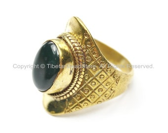 Tibetan Ring with Agate Inlay (SIZE 8)- Nepal Ring Tibetan Ring Ethnic Ring Tribal Ring Boho Ring Handmade Ring TibetanBeadStore R207-8