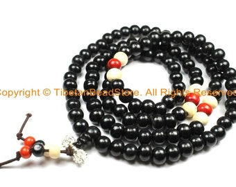 108 beads Tibetan Black Wood Mala Prayer Beads with Spacer Beads 8mm - Tibetan Mala Beads - TibetanBeadStore Mala Making Supplies - PB134