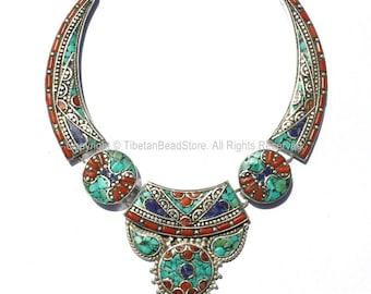 Ethnic Tibetan Necklace Bead Set with Lapis, Turquoise & Coral Inlays - DIY Necklace - Fine Quality DYI Tibetan Jewelry - N134