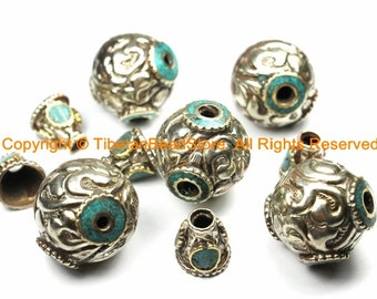 1 SET MEDIUM Tibetan Silver Guru Bead Set with Turquoise Inlay - Repousse Hand Carved Floral Detail Tibetan Silver Guru Bead - GB48M-1