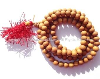 108 beads - Tibetan Natural Sandalwood Mala Prayer Beads - 7-8mm - Tibetan Mala Beads - Mala Making Supplies - PB98S-R