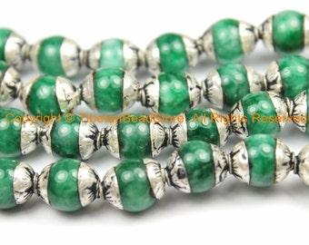 10 BEADS - Small Green Jade Tibetan Beads with Repousse Real Silver Caps - Handmade Tibetan Beads - B3113-10